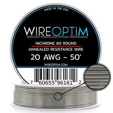 20 Gauge AWG Nichrome 80 Wire 50' Length - N80 Wire 20g GA 0.81 mm 50 ft