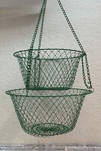 Vintage Two Tiered Green Wire Mesh Hanging Fruit Vegetable Basket