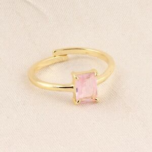 Lovely Pink Quartz Prong Setting Yellow Gold Plated Gemstone Adjustable Ring