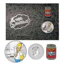 2020 HOMER 1/2oz Silver Coloured Coin + Duff Beer Pin on Card 50c The Simpsons