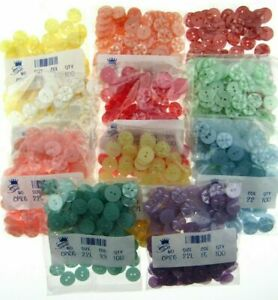 100 x STAR BABY BUTTONS -  11 COLOURS & 3 SIZES - POLYESTER STAR BUTTONS