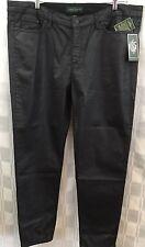 Ralph Lauren Jeans Co Pants Womens Black Faux Leather Plus Sz 18 Stretch Skinny