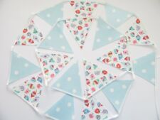 CATH KIDSTON CHRISTMAS OILCLOTH Fabric BUNTING BANNER Baubles Blue Spot 3m+ ties