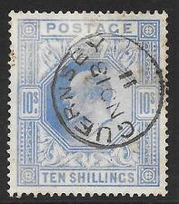 1902 (DLR) 10/- Ultramarine SG 265 - Fine Used with Guernsey CDS