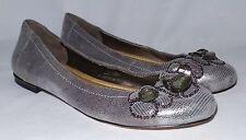 Alex Marie Metallic Reptile Embossed Leather Beaded Toe Ballet Flats Sz 9.5M