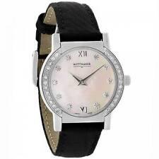 Wittnauer Women's Orpheum Diamond MOP Dial Black Band Quartz Swiss Watch 10R06