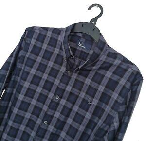 Men's FRED PERRY LONDON Premium Blue Check Pattern Shirt Size *SLIM* L *VGC*