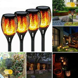 NEW 4x LED Waterproof Solar Dance Flickering Flame Light Garden Yard Lawn Lamp