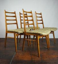 4x Vintage Stühle Danish Modern Retro Esszimmer Stuhl Mid-Century Holz 60er grün