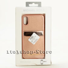 Michael Kors iPhone X iPhone XS Leather Pocket Case Cover w/ID Card (Rose Gold)