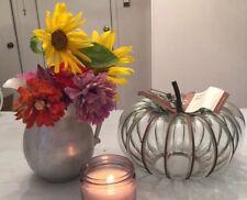 Williams Sonoma Glass Metal Pumpkin Small NEW In Box