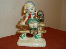 "Vintage ""Girl Sitting On A Fence"" 5.0"" Tall, Shiny Finish Figurine"