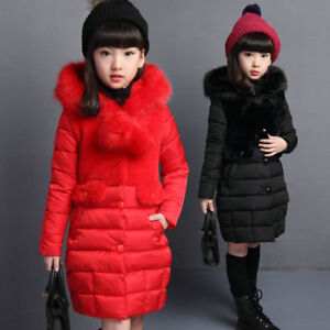 Kids Girls Winter Fur Hooded Padded Quilted Coat Jacket Warm Puffer Long Parka