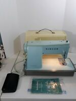Singer Vintage Style Mate Model 347 Turquoise Sewing Machine With Case - Works