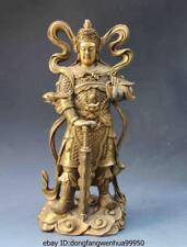 10 Chinese Folk Refined Copper Brass  Lion WeiTuo Wei Tuo Warrior Buddha Statue