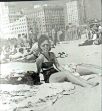 Vintage photo Sexy woman bathing suit at beach, Cheesecake/ Pinup Girl, Risque