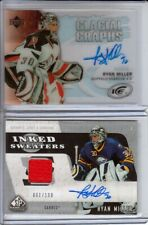 Upper Deck TWO (2) Auto Cards LOT Ryan Miller Graphs + Inked Sweaters