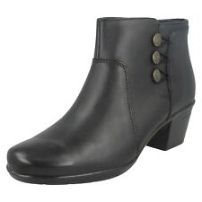 Ladies Clarks Emslie Monet Black Or Brown Leather Smart Ankle Boots
