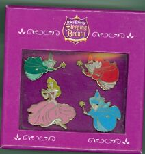 Disney 50th Sleeping Beauty  Aurora Fairies Merryweather Fauna Flora Box Pin Set