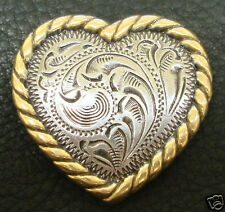 """Set of 6 HEADSTALL SADDLE ANTIQUE GOLD ROPE EDGE HEART CONCHOS 1-1/4"""" SCREW BACK"""