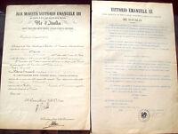 1912 LOTTO DI DUE DECRETI LEGGE INGEGNERE CLAUDIO CLAUDI DA FANO. SCUOLA FORLI'