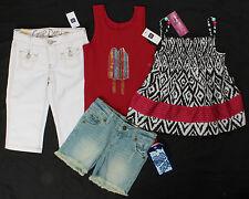 NWT girls size 7 slim GAP red tank & white pedal pushers Arizona denim shorts!!