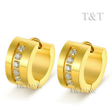 T&T 14K Gold GP Stainless Steel Thick Hoop Earrings With CZ (EG34)