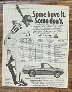 Tony Gwynn 1988 Mitsubishi newspaper ad 8 3/4  x 11