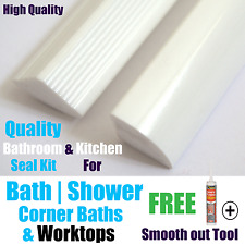 New Solid Bath/Corner Bath/Shower/Worktop Seal Strips White Supplied in a Kit