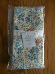 Set 4:Pottery Barn Peter Rabbit Floral Cotton + Linen Cloth Napkins -Spring -New