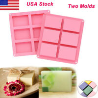 2 Pack Silicone Soap Molds 6 Cavities Soap Baking Mold Cake Pan for DIY Soap