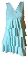 Vestito Abito Corto Elegante Aderente Balze Donna Scollato V Verde Giallo S M XL