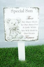 Son Memorial Grave Decor Baby Premature Child Teddy Held In Our Arms F1627B