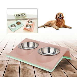 Double Bowl Raised Stand For Cat Pet Dog Puppy Non-Slip Splash Feeder Food Bowl