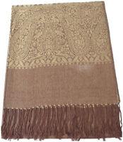 CJ Apparel Gold Brown Paisley Design Shawl Pashmina Scarf Wrap Stole Seconds NEW