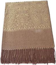 CJ Apparel oro marrón Paisley Diseño Chal Pashmina Bufanda Envolvente Estola segundos Nuevo