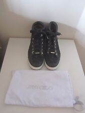 bb2504ca04d VGC WITH DUSTBAG JIMMY CHOO BLACK LEATHER & LACE HI TOP TRAINERS SIZE ...