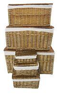 Oak Strong Wicker Storage Chest Trunk Toy Blanket Box Hamper basket + Lining