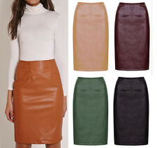 Women New Bodycon Faux Leather High Waist Midi Pencil Skirt Black Wine 6-16