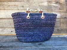 Blue Straw Metallic Gold Thread Rope Straps XL Tote Bag Beach Leather Tote
