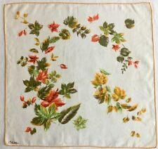 Vintage - Handkerchief Hankie - Autumn Leaves - Signed by Colette