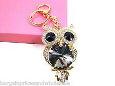 Large Black Owl Keyring Sparkling Rhinestone Diamante Handbag Buckle Charm