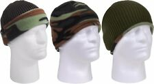 Reversible Camouflage to Olive Military Polar Fleece Beanie ECWCS Watch Cap