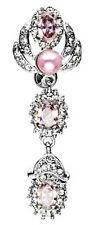 Top Down Pink Pearl & Gems Belly Button Bar Reverse Navel Naval Ring Dangle