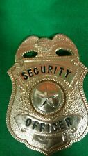 ANTIQUE OBSOLETE SECURITY OFFICER GUARD BADGE GOLD COLOR