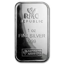 1 oz Silver Bar - Republic Metals Corporation (RMC) - SKU #103179
