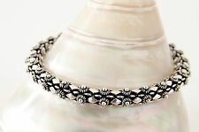 Sterling Silver Rope Chain Link Bracelet Womens 925 Artisan Bali Ethnic Jewelry