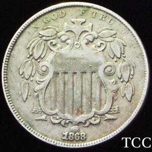 1868 SHIELD NICKEL 5c ~ FANTASTIC ORIGINAL COIN ~ TOUGH EARLY DATE ~ TCC