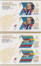 2012 GB Lotto Di 2 x LIBRETTO vetri che mostra GIOCHI PARALIMPICI-Ellie SIMMONDS