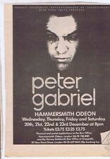 PETER GABRIEL HAMMERSMITH ODEON AD press clipping 1978 approx 20x15cm (21/10/78)